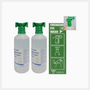 2 x 944ml Saline Eyewash Bottles with Wall-Mount & Sign