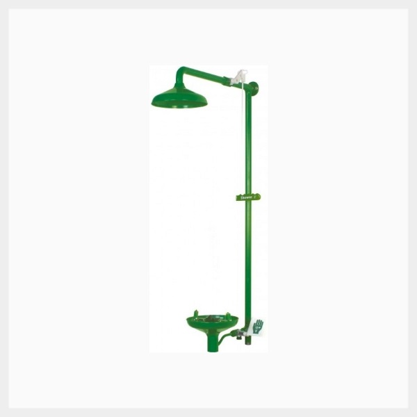 wall mounted laboratory shower with eye  face wash